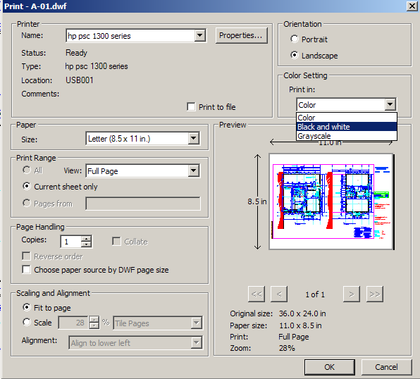 With A DWF File User Simply Prints It Is Possible To Print Color In Black And White This Available The Dialog